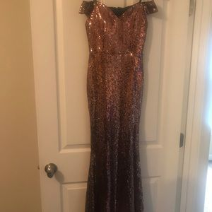 Copper sequin formal dress by Windsor